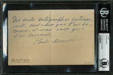 ULTRA-RARE Claude Monet Handwritten & Signed Note in French w/ Quote About Autographs! (BAS/Beckett Encapsulated)