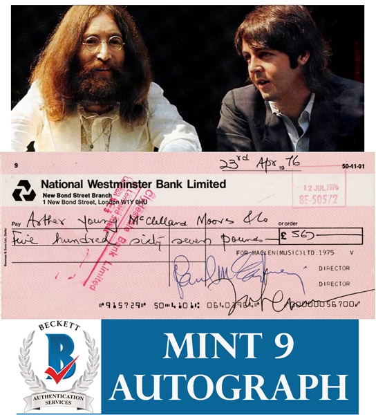 The Beatles: Paul McCartney & John Lennon SCARCE Dual Signed MacLen Music Bank Check :: Dated from LAST WEEKEND TOGETHER! (Beckett/BAS Graded MINT 9)