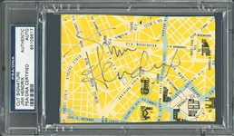 "Jimi Hendrix Signed 4.75"" x 3.25"" Italian Map Segment :: Hendrix Signs While Performing in Milan in 1968! (PSA/DNA)"