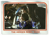 Carrie Fisher & Bruce Boa Dual Signed 1980 Star Wars ESB Trading Card #16 - Hidden Rebel Base (Beckett/BAS Guaranteed)(Steve Grad Collection)