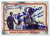 Boba Fett & Other Cast Signed 1980 Star Wars ESB Trading Card #98 - Bobas Special Delivery (Beckett/BAS Guaranteed)(Steve Grad Collection)