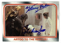 Kenny Baker & Peter Mayhew Signed 1980 Star Wars ESB Trading Card #112 - Artoo To The Rescue (Beckett/BAS Guaranteed)(Steve Grad Collection)