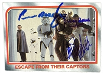 Empire Strikes Back Cast Signed 1980 Topps Trading Card w/Fisher, Bulloch and Mayhew (Beckett/BAS Guaranteed)(Steve Grad Collection)