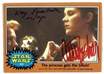 Carrie Fisher & Kay Freeborn Signed 1977 Star Wars Trading Card #325 (Beckett/BAS Authenticated)(Steve Grad Collection)