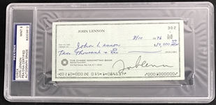 The Beatles: The Only Known John Lennon Signed Personal Check - PSA/DNA Graded MINT 9