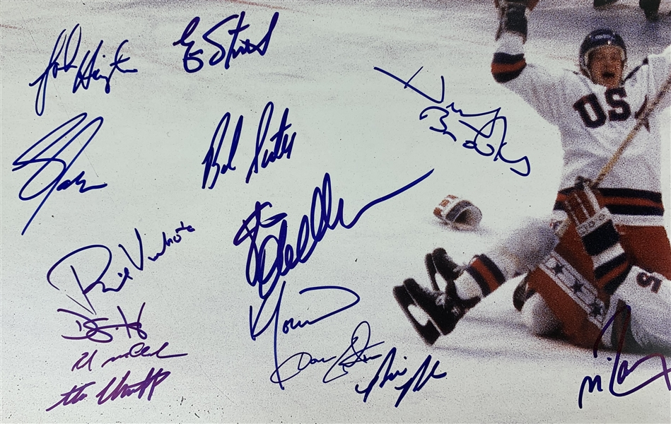 Miracle On Ice 1980 US Mens Hockey Team Signed 16 x 20 Color Photo w/ 20+ Sigs Including Herb Brooks! (Steiner Sports)