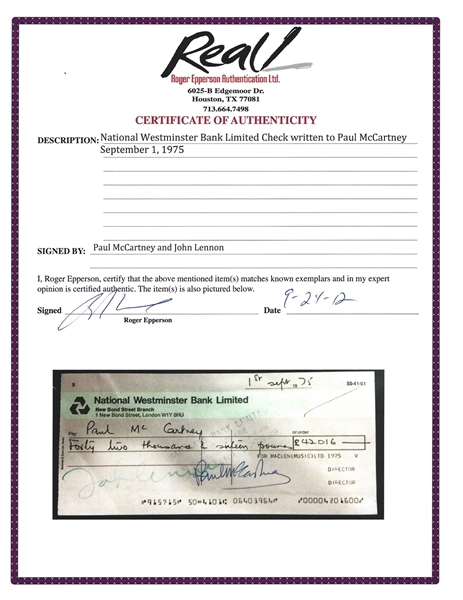 The Beatles: Scarce Dual Signed MacLen Music Royalties Check Payable To John Lennon, Signed by Paul McCartney & John Lennon! (Epperson/REAL)