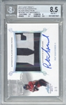 Superbowl MVP: Patrick Mahomes II Signed 2017 Leaf Trinity LE /5 Silver Spectrum Patch Rookie Card (BGS 8.5 10)