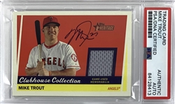 Mike Trout Signed 2016 Clubhouse Collection Game Used Relic Patch Card (PSA/DNA)