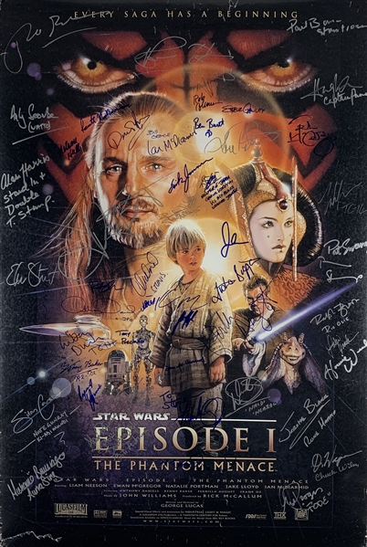 Episode I: The Phantom Menace Incredible Cast Signed 24 x 36 Movie Poster with 38 Autographs! (Beckett/BAS Guaranteed)(Steve Grad Collection)