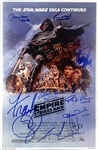 "Star Wars Cast Signed 12"" x 18"" TESB Mock Poster w/ Ford, Lucas, Fisher & Others! (Beckett/BAS LOA)"