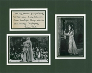 "Lillian Gish Signed & Handwritten 3"" x 5"" Notecard Display (Beckett/BAS Guaranteed)"