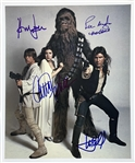 "Star Wars Impressive 12"" x 14"" Cast Signed Color Photo with Ford, Fisher, Hamill & Mayhew (Steve Grad Collection)(Beckett/BAS Guaranteed)"