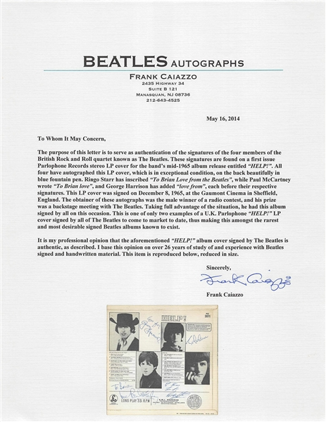 The Beatles Extraordinary Complete Group Signed Help! UK Record Album - One of only TWO Known to Exist! (Beckett/BAS Graded MINT 9)