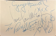 "The Beatles Group Signed Vintage 3.5"" x 5"" Album Page w/ All Four Members! (Beckett/BAS)"
