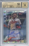 Ronald Acuna Jr. Signed 2018 Topps Chrome Update Autograph X-Fractors #HMT25 Card (Beckett/BGS Graded 10 w/ 10 Auto!)