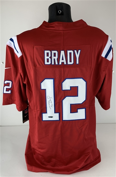 Tom Brady Signed NIKE Official New England Patriots Red Jersey (TriStar)