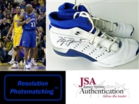 2002 Michael Jordan Signed & Game Worn Washington Wizards Sneakers :: Attributed to 2/12/2002 Game vs. Lakers & Kobe Bryant! (JSA & Photo-Match Resolution)