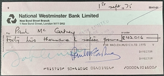 The Beatles: Scarce Dual Signed MacLen Music Royalties Check Payable To John Lennon, Signed by Paul McCartney & John Lennon! (Beckett/BAS & Epperson/REAL LOAs)