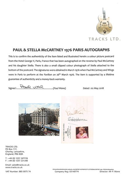 Ultra-Rare Paul & Stella McCartney Vintage Signed Postcard (Beckett/BAS Encapsulated)