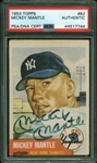 Mickey Mantle RARE Signed 1953 Topps #82 Baseball Card (PSA/DNA)