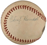 Chief Bender ULTRA-RARE Single Signed Official League Baseball (PSA/DNA & Beckett/BAS)