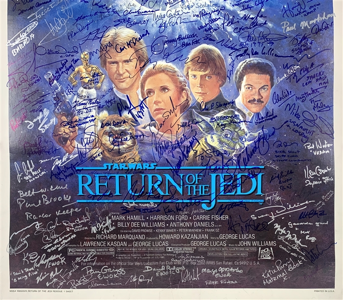Star Wars Return of the Jedi Full Size Movie Poster with Amazing 177 Autographs! (Beckett/BAS Guaranteed)(Steve Grad Collection)