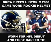 Drew Brees Historic Game Worn Helmet from 2001 Rookie Season :: Photo Matched to NFL Debut & First Career TD! (Resolution Photomatching & RGU LOAs)