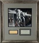 "Amelia Earhart Impressive Signed 1.5"" x 3.5"" Cut Framed Display (PSA/DNA)"