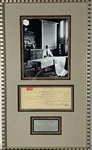 "Frank Lloyd Wright Signed Vintage Business Bank Check in Custom Framed Display (Framed to 13.5"" x 23"") (PSA/DNA)"