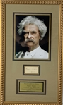 "Mark Twain Signed 3"" x 2"" Cut Framed Display (PSA/DNA)"
