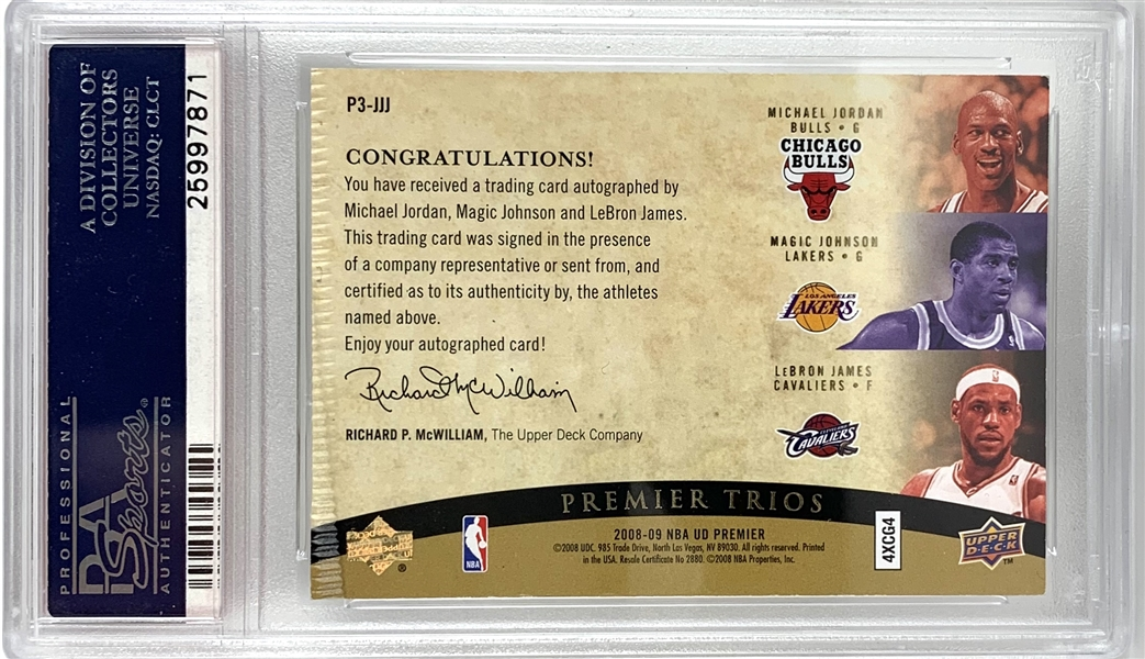 2008 Upper Deck Premier Trios Michael Jordan, Magic Johnson & Lebron James Triple Signed Insert Card :: Only PSA/DNA Graded 10 Triple Auto Card Known to Exist! (PSA/DNA)