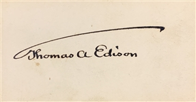 Thomas Edison Superb Signed Calling Card - Beckett/BAS Graded GEM MINT 10 Autograph!