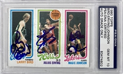1980-81 Topps Magic Johnson, Larry Bird & Julius Erving Card - Signed by All 3 - Magic & Birds Rookie - PSA/DNA Graded GEM MINT 10!