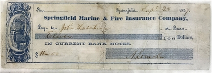 Abraham Lincoln Signed & Handwritten 1857 Personal Bank Check (Beckett/BAS)