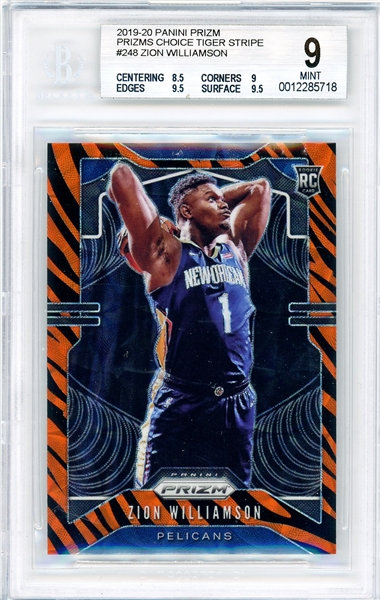 2019-20 Zion Williamson ULTRA RARE Panini Prizm Choice Tiger Stripe Rookie Card :: BGS Graded MINT 9 with 9.5 Subgrades!