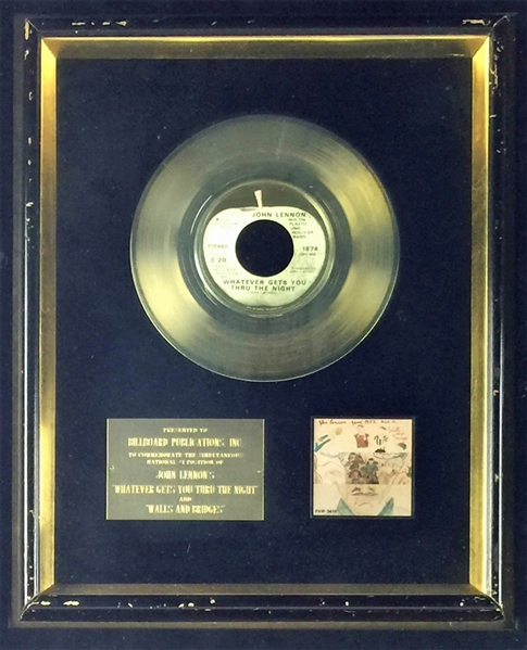 The Beatles: John Lennon's Personal Billboard Award for Whatever Gets You Thru The Night & Walls & Bridges with Impeccable Provenance