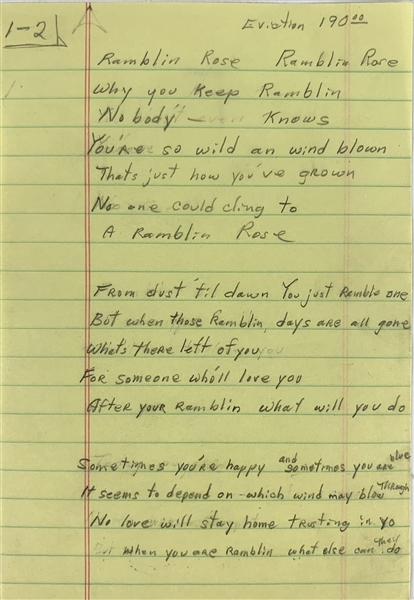Chuck Berry Handwritten Lyrics for Ramblin Rose (Epperson/REAL LOA)