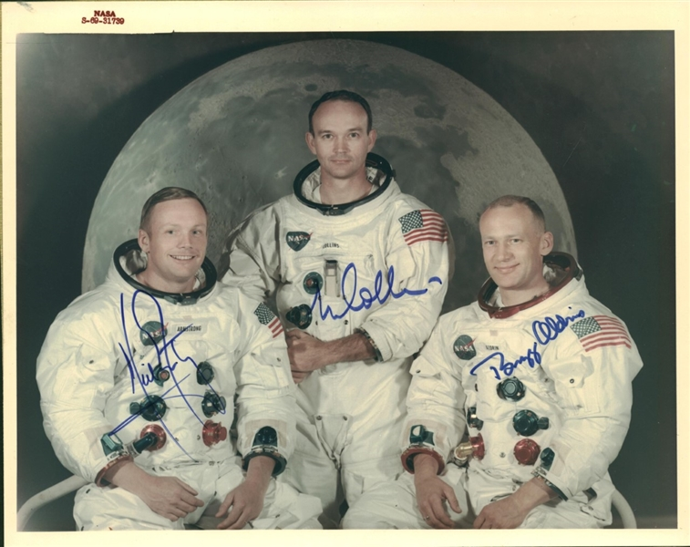 Apollo 11 Amazing Crew Signed Official Color NASA Photograph w/ Armstrong, Aldrin & Collins (RARE Red Label NASA Print)(PSA/DNA & JSA)