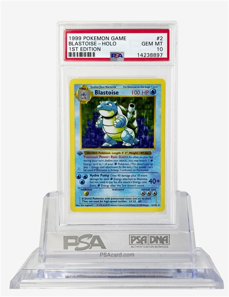 Blastoise First Edition 1999 Pokemon Game Holographic Trading Card - PSA GEM MINT 10!