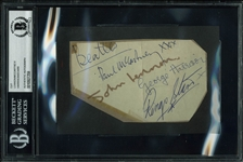 "The Beatles Band Signed 3"" x 5"" Album Page w/ Paul McCartney, John Lennon, George Harrison & Ringo Starr (Beckett/BAS Encapsulated)"