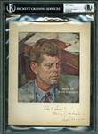 "John F. Kennedy Rare Signed 6"" x 7"" Artist Rendering (BAS/Beckett Encapsulated)"