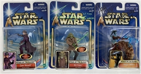 Lot of Three (3) Signed Attack of the Clones Figurines w/ Allen, Jensen & Walsman (Beckett/BAS Guaranteed)