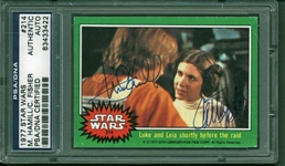 Star Wars: Mark Hamill & Carrie Fisher Dual Signed 1977 Topps Trading Card #214 (PSA/DNA Encapsulated)