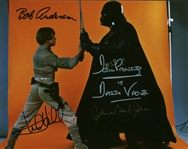 "Lightsaber Duel: Dave Prowse, James Earl Jones, Mark Hamill & Bob Anderson Signed 8"" x 10"" Photograph (Beckett/BAS Guaranteed)"