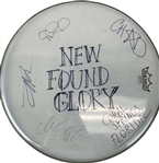 "New Found Glory Group Signed 16"" REMO Drumhead (Beckett/BAS)"