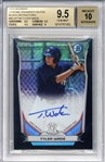 Tyler Wade Signed 2014 Bowman Chrome Prospect Black Refractors Rookie Card (Beckett/BGS Graded 9.5 w/ 10 Auto)