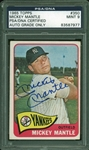 Mickey Mantle Signed 1965 Topps #350 Vintage Trading Card (PSA/DNA Graded MINT 9)