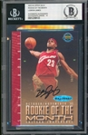 LeBron James Signed 2003-04 Rookie of The Month Oct/Nov 2003 Limited Edition Commemorative Card (#15/23)(UDA)(Beckett/BAS GEM MINT 10 Auto!)