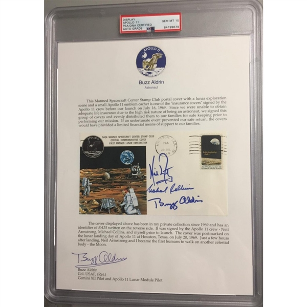 Apollo 11 Crew Signed Insurance FDC (GEM MINT 10) With Buzz Aldrin Signed Collection Letter (PSA/DNA Encap & Zarelli LOA)